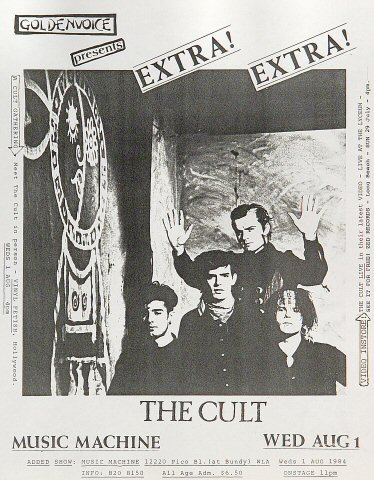 "The Cult Handbill from Music Machine on 01 Aug 84: 8 1/2"" x 11"""