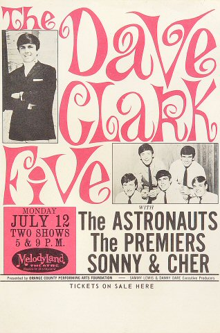 "The Dave Clark Five Handbill from MelodyLand Theatre on 12 Jul 65: 6"" x 8 15/16"""