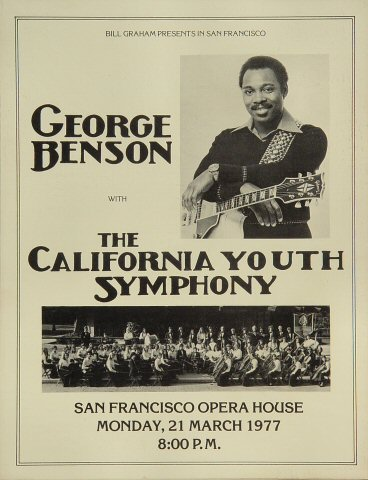 "George Benson Program from San Francisco War Memorial Opera House on 21 Mar 77: 8 1/2"" x 11"""