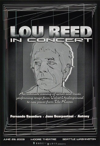 "Lou Reed Poster from Moore Theatre on 29 Jun 03: 13"" x 19"""