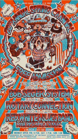 "Bob Seger Handbill from Michigan State Fairgrounds on 14 Mar 69: 4 1/8"" x 7 3/8"""
