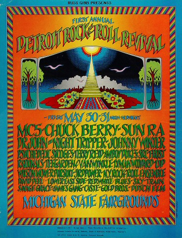 "MC5 Poster from Michigan State Fairgrounds on 30 May 69: 17"" x 22"""