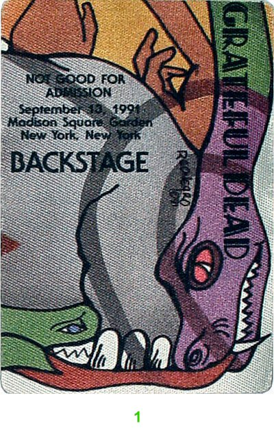 Grateful Dead Merchandise Grateful Dead Backstage Pass From Madison Square Garden On 10 Sep 91