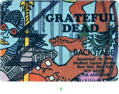 Grateful Dead Backstage Pass from Madison Square Garden on 18 Sep 91: Pass 1