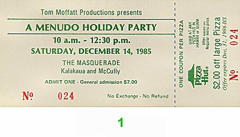 Menudo 1980s Ticket from Masquerade on 14 Dec 85: Ticket One