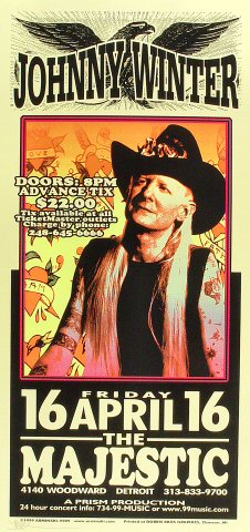 "Johnny Winter Poster from Majestic Theatre on 16 Apr 99: 10 1/2"" x 22 1/4"""