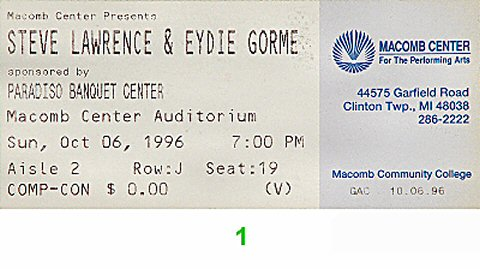 Steve Lawrence 1990s Ticket from Macomb Center Auditorium on 06 Oct 96: Ticket One