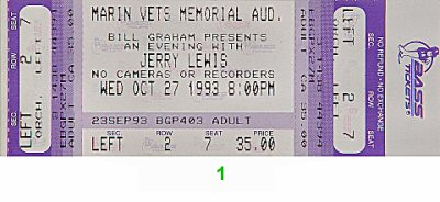 Jerry Lewis 1990s Ticket from Marin Veterans Memorial Auditorium on 27 Oct 93: Ticket One