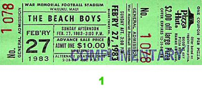 The Beach Boys 1980s Ticket from Maui War Memorial Gymnasium on 27 Feb 83: Ticket One