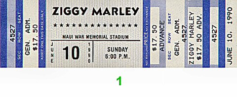 Ziggy Marley & the Melody Makers 1990s Ticket from Maui War Memorial Gymnasium on 10 Jun 90: Ticket One