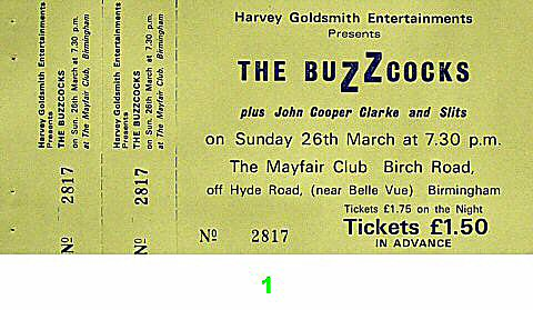 Buzzcocks 1970s Ticket from Mayfair Club on 26 Mar 77: Ticket One