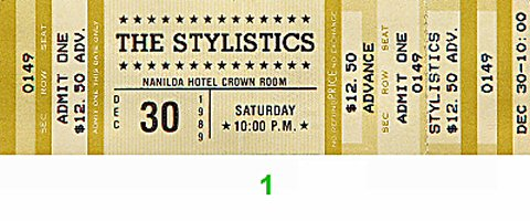 The Stylistics 1980s Ticket from Naniloa Hotel Crown Room on 30 Dec 89: Ticket One