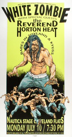 "White Zombie Poster from Nautica Stage on 10 Jul 95: 17 3/4"" x 33 1/4"""