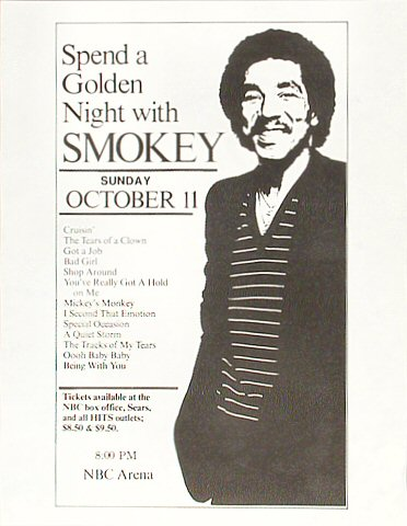 "Smokey Robinson Handbill from NBC Arena on 11 Oct 81: 8 1/2"" x 11"""