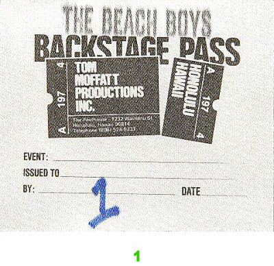The Beach Boys Backstage Pass from NBC Arena on 25 Feb 83: Pass 1