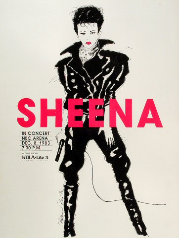"Sheena Easton Poster from NBC Arena on 08 Dec 83: 17 1/2"" x 23 1/8"""