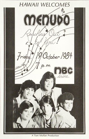 "Menudo Poster from NBC Arena on 19 Oct 84: 11"" x 17"""