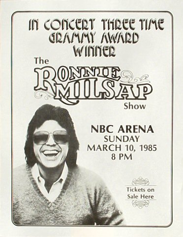 "Ronnie Milsap Handbill from NBC Arena on 10 Mar 85: 8 1/2"" x 11"""
