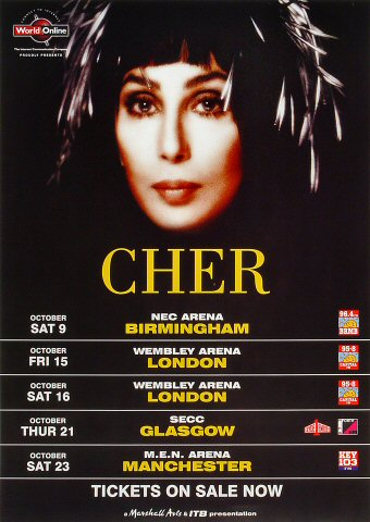 "Cher Poster from NEC Arena on 09 Oct 99: 11 3/4"" x 16 1/2"""