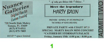 Marty Balin 1990s Ticket from Nuance Galleries on 15 Jan 99: Ticket One