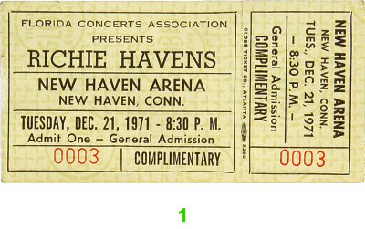 Richie Havens 1970s Ticket from New Haven Arena on 21 Dec 71: Ticket One