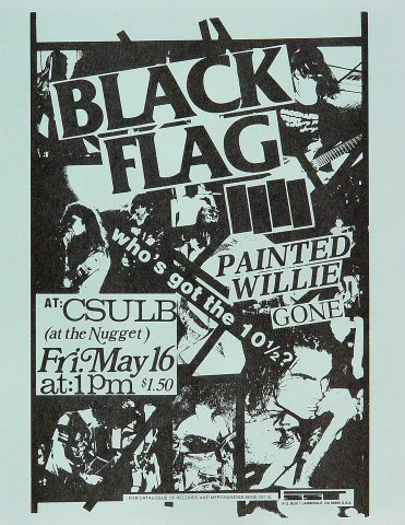 "Black Flag Handbill from Nugget on 16 May 86: 8 1/2"" x 11"""