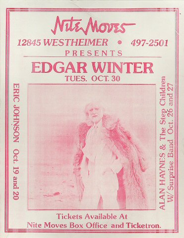 "Edgar Winter Handbill from Nite Moves on 30 Oct 84: 8 1/2"" x 11"""