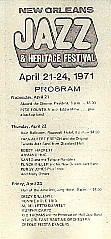 "Pete Fountain Program from Municipal Auditorium New Orleans on 21 Apr 71: 4 1/16"" x 8 1/2"""