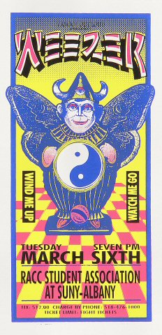 "Weezer Handbill from State University of New York on 06 Mar 01: 4 1/4"" x 8 3/4"""