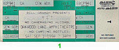 Y&T 1990s Ticket from Oakwood Amphitheatre on 01 Sep 90: Ticket One