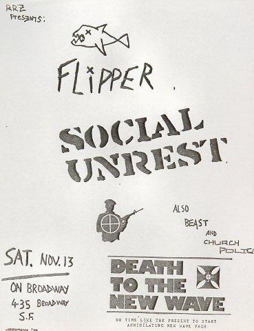 """Flipper Handbill from On Broadway on 13 Nov 82: 8 1/2"""" x 11"""""""