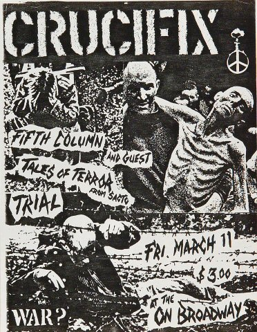 "Crucifix Handbill from On Broadway on 11 Mar 83: 8 1/2"" x 11"""