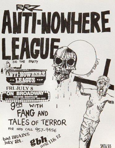 "Anti-Nowhere League Handbill from On Broadway on 08 Jul 83: 8 1/2"" x 11"""