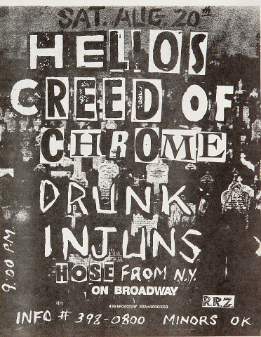 "Helios Creed Handbill from On Broadway on 20 Aug 83: 8 1/2"" x 11"""