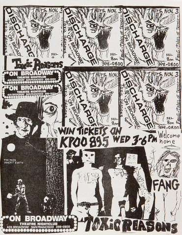 "Discharge Handbill from On Broadway on 03 Nov 83: 8 1/2"" x 11"""