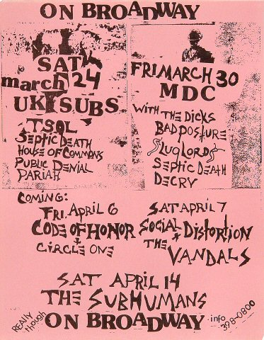 "U.K. Subs Handbill from On Broadway on 24 Mar 84: 11"" x 17"""
