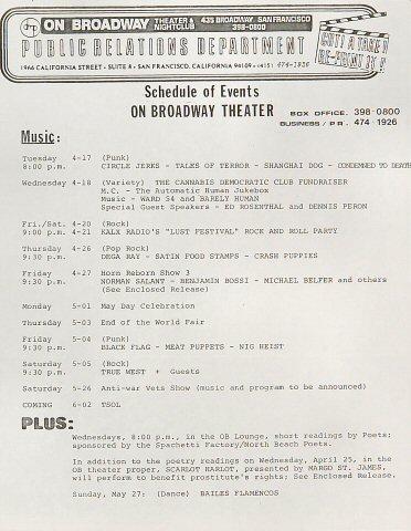 "Circle Jerks Handbill from On Broadway on 17 Apr 84: 8 1/2"" x 11"""