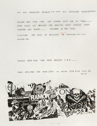 """The English Dogs Handbill from On Broadway on 16 May 86: 8 1/2"""" x 11"""""""
