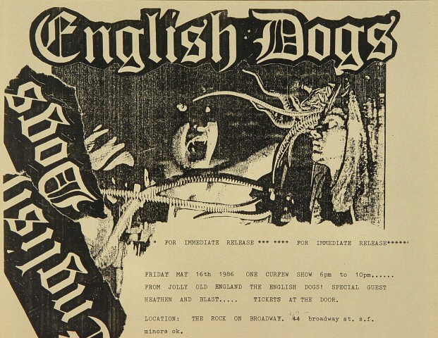 "The English Dogs Handbill from On Broadway on 16 May 86: 8 1/2"" x 11"""