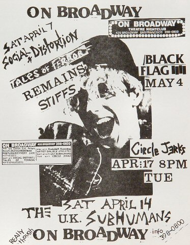"Social Distortion Handbill from On Broadway on 07 Apr 90: 8 1/2"" x 11"""