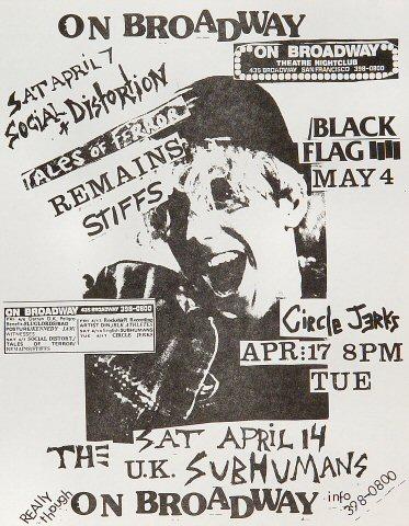 "Social Distortion Handbill from On Broadway on 07 Apr 90: 8 1/2"" x 11"""