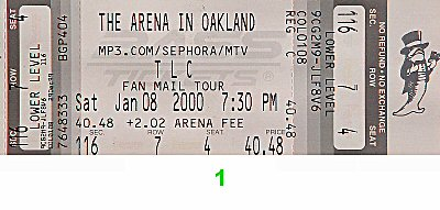 TLC Post 2000 Ticket from Oakland Coliseum Arena on 08 Jan 00: Ticket One