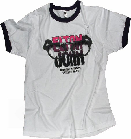 Elton John Men's Retro T-Shirt from Oakland Coliseum Arena on 19 Oct 75: Medium