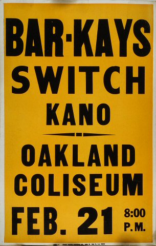 "Bar-Kays Poster from Oakland Coliseum Arena on 21 Feb 81: 14"" x 21 7/8"""