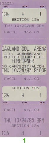 Foreigner 1980s Ticket from Oakland Coliseum Arena on 24 Oct 85: Ticket One