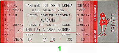 Alabama 1980s Ticket from Oakland Coliseum Arena on 01 May 86: Ticket One