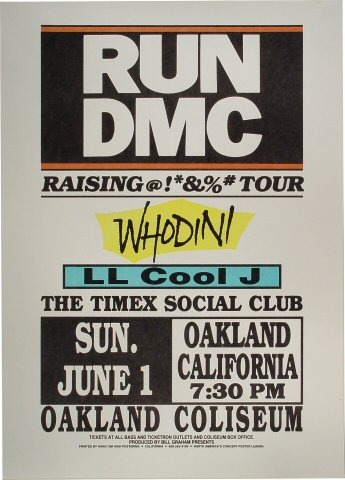 "RUN-D.M.C. Poster from Oakland Coliseum Arena on 01 Jun 86: 18"" x 25"""