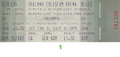 Triumph 1980s Ticket from Oakland Coliseum Arena on 31 Jan 87: Ticket One