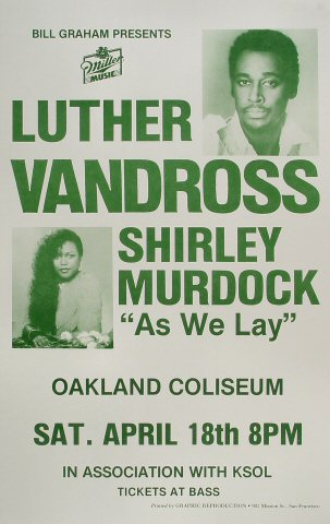 "Luther Vandross Poster from Oakland Coliseum Arena on 18 Apr 87: 14"" x 22"""