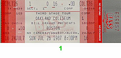 Boston 1980s Ticket from Oakland Coliseum Arena on 26 Jul 87: Ticket One